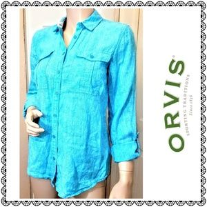 {ORVIS} camp-style top, turquoise 100% linen, sz 6